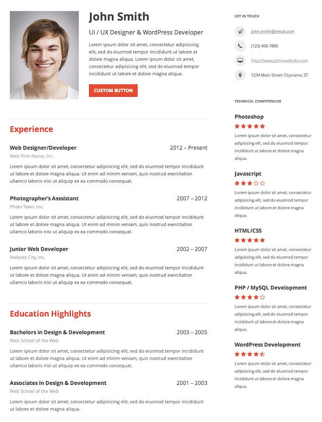 Resume Builder Plugin WordPress